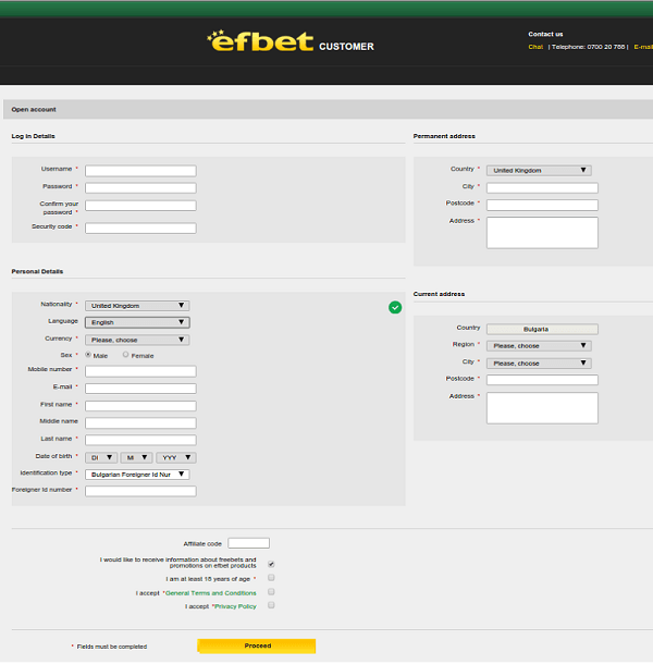 Efbet Registration Form