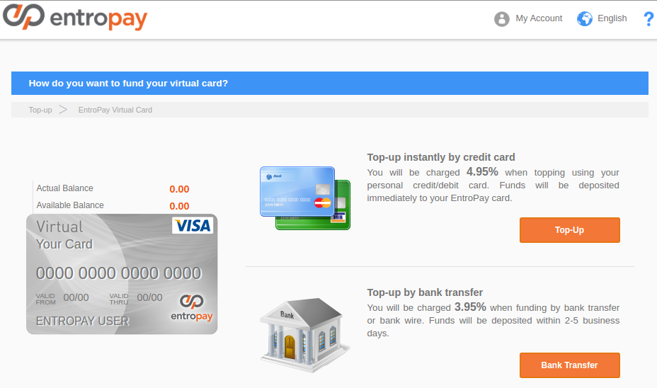 How do you want to fund your virtual card