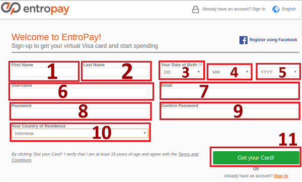 How to register an Entropay account