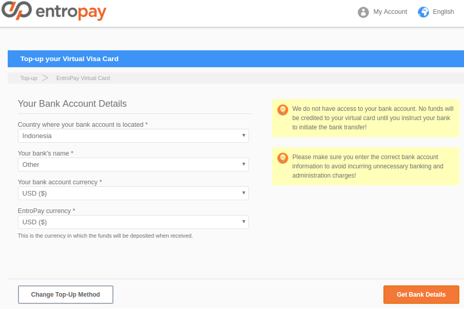 Upload funds into Entropay Virtual Visa Card via Bank Transfer