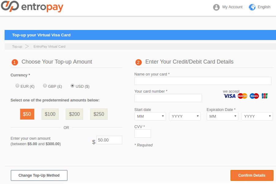 Upload funds via credit or debit card